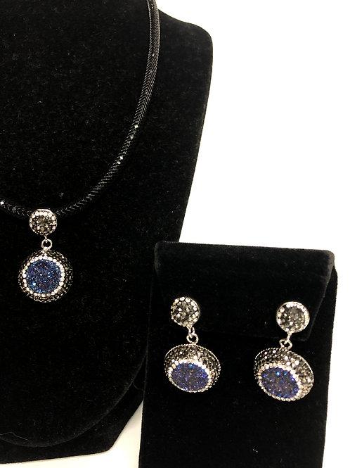 Round shaped Navy Blue Druzy pendant& earrings