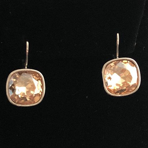 Swarovski crystal lever back earrings -CHAMPAGNE