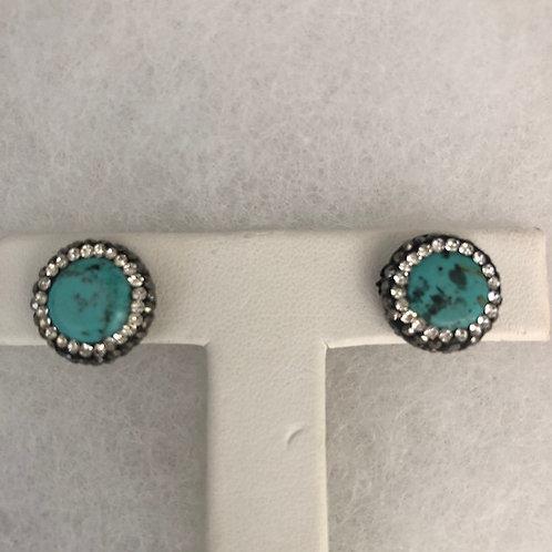 Pierced stud earrings in TURQUOISE set in SILVER
