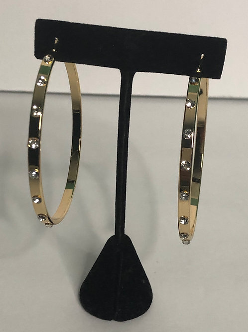 Gold large hoop earring with clear crystals