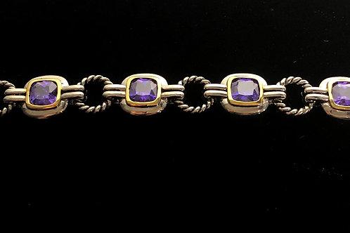 Two tone designer look line bracelet with PURPLE Stones