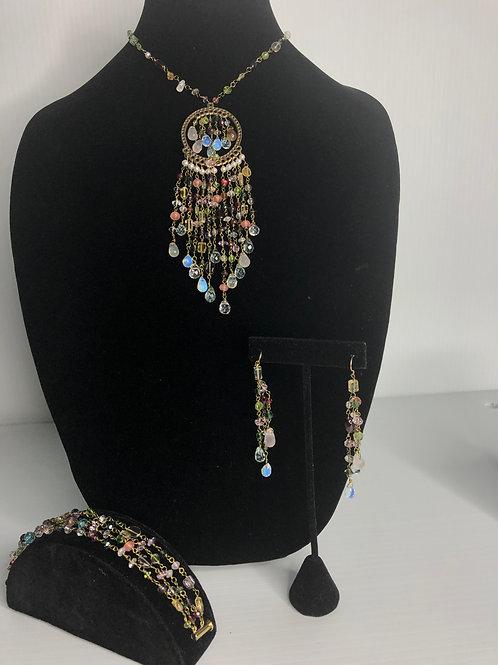 "Bohemian all gemstones hand done ""Y"" drop - 3 piece set"