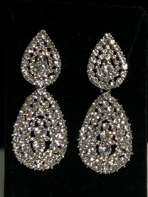 SILVER tear drop clip on earrings