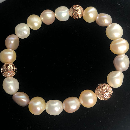 Pink and peach pearl bracelet with Rose Gold bracelet