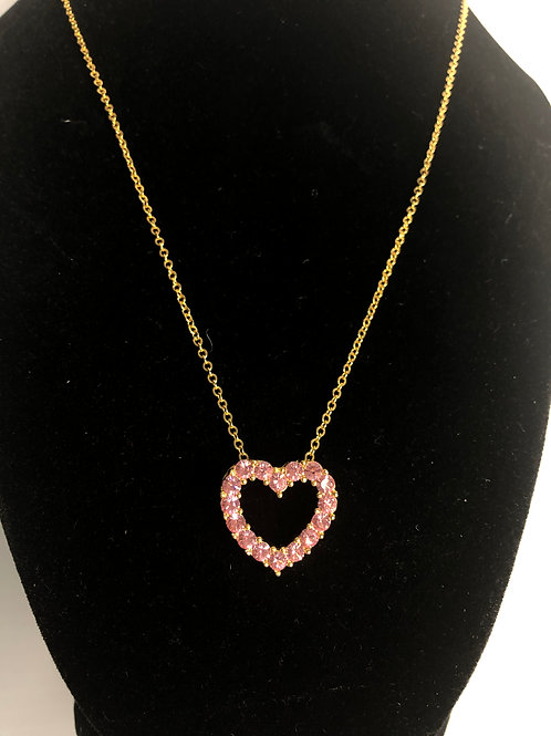 Gold chain with pink Austrian crystal heart pendant