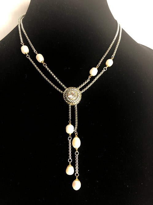 """""""Y"""" drop two tone necklace with white FWP with toggle clasp"""