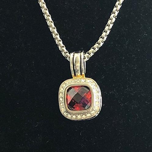 Designer RED detachable pendant on rhodium adjustable chain