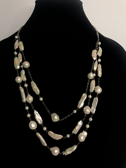 Triple strand white Biwa FWP necklace all in sterling silver