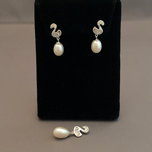 Sterling Silver FWP Earring & Pendant with Swarovksi Crystals