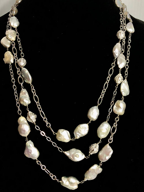 3 strand light gray Freshwater Cultured pearl necklace