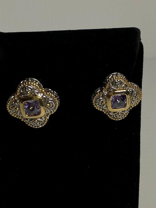 Designer look PURPLECubic Zircon lever back earrings