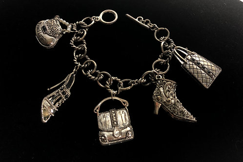 Purse and shoes charm bracelet with toggle clasp