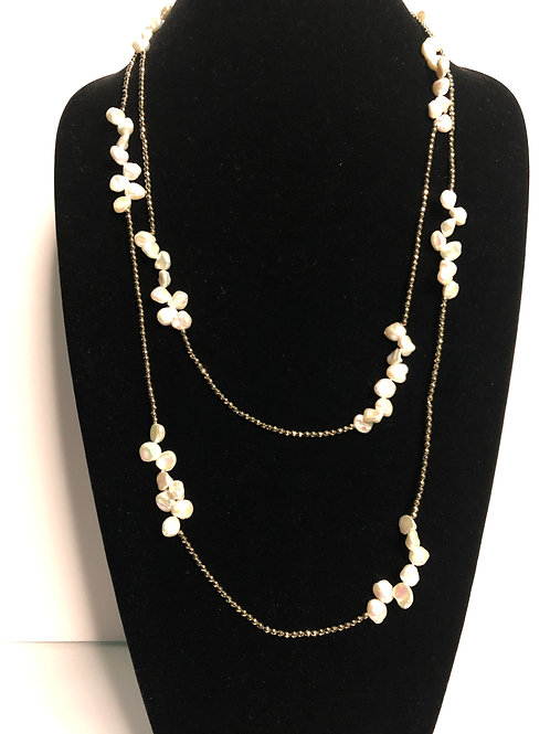 Long gold with white Freshwater Cultured pearls