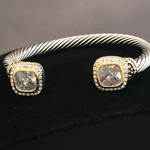 Designer square shaped bracelet on either side in cubic zircon