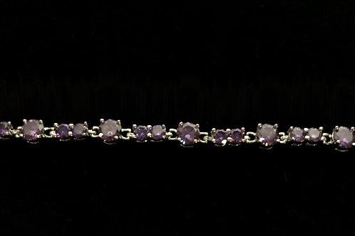 Genuine amethyst gemstones in sterling silver 925 bracelet