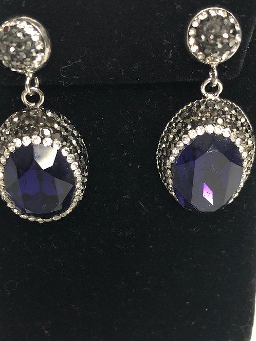 Oval purple on silver Austrian crystal Earrings