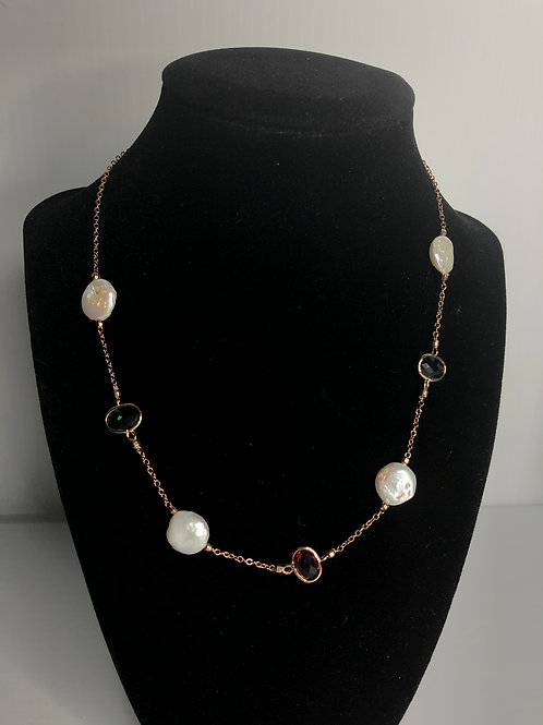 Designer look necklace in Rose Gold with FWP and Czech crystal