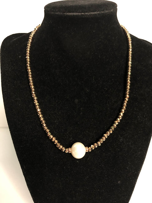 Gold beaded necklace white Freshwater pearl on adjustable clasp