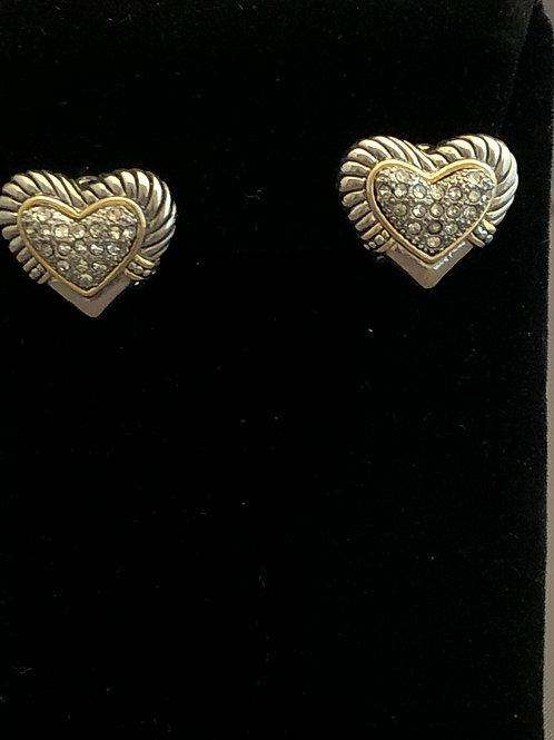 Designer look silver pierced heart earrings