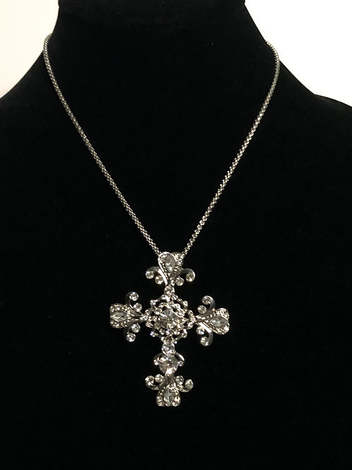 Large clear Austrian crystal Cross Necklace