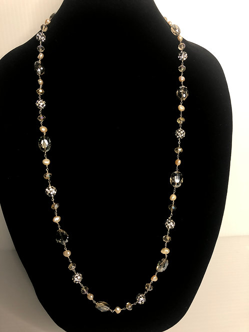 Long pink FWP necklace gallery wrapped with crystals