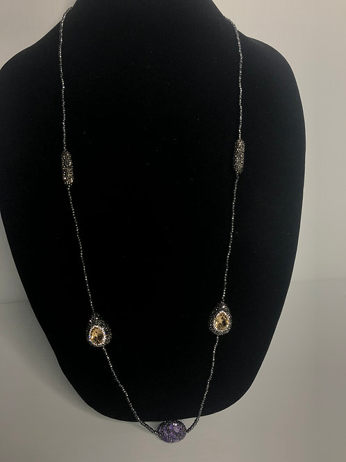 Hematite necklace with oval  Amethyst and Champagne stones
