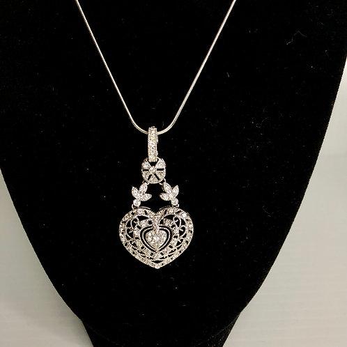 Designer look silver  HEART Austrian crystal pendant