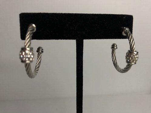 Medium sized Designer SILVER stainless steel hoop earring