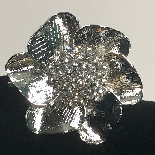 Designer look large flower in silver hinged bracelet