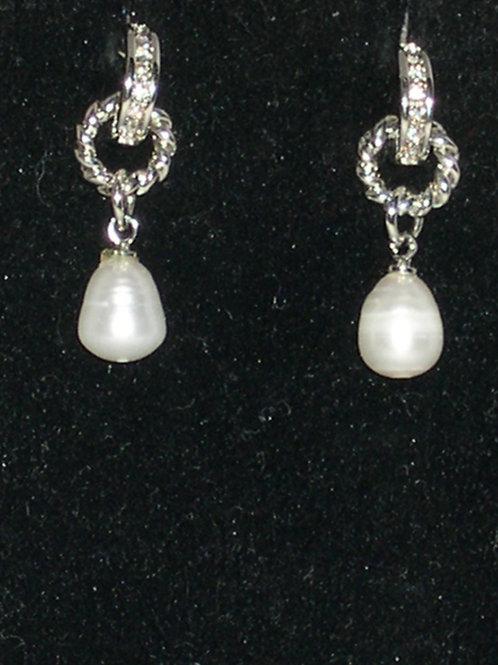 Designer look Freshwater pierced pearl earrings