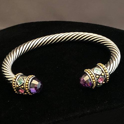 Designer look cable bracelet in cubic zircon