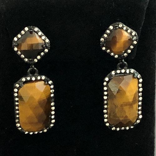 Tiger Eye stainless steel drop pierced earrings