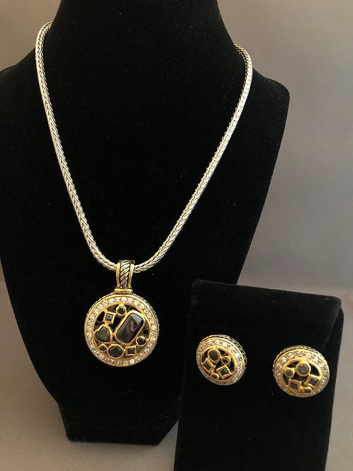 Designer look Black pendant & Lever Back Earrings