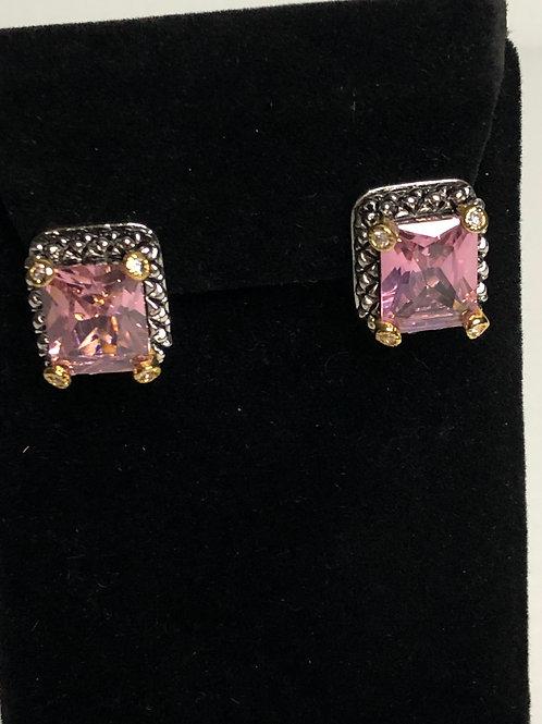 Designer two tone rectangular shaped pierced earrings