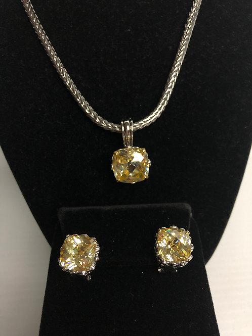 Designer look Canary pendant & Lever Back Earrings