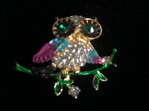 Small colorful owl brooch