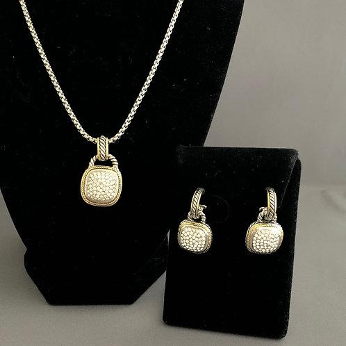 Designer two-tone stationary pendant/earrings