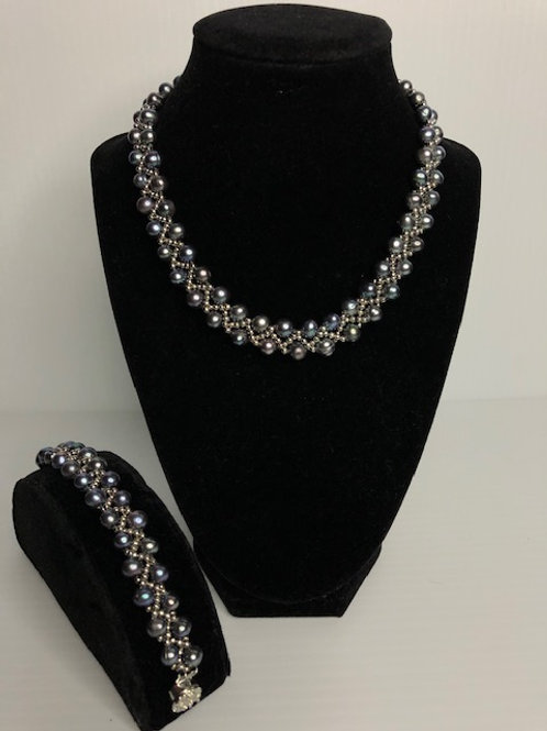 Braided Freshwater Cultured pearl necklace and bracelet set