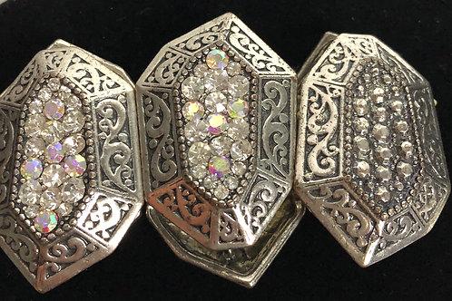 Silver unique design elastic bracelet in Austrian crystals