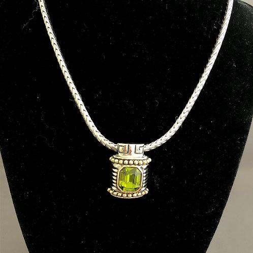 Designer look detachable OLIVE GREEN pendant