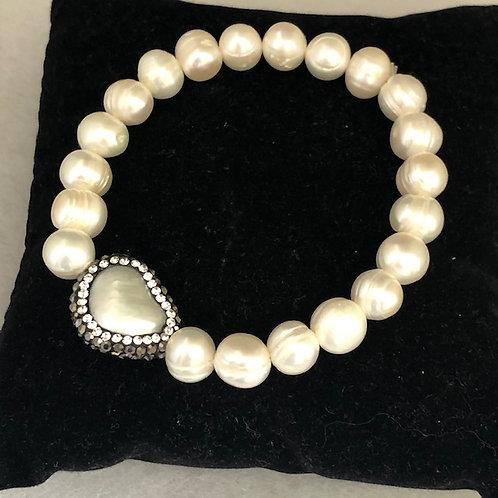 White elastic FWP bracelet with one TRIANGULAR shaped piece