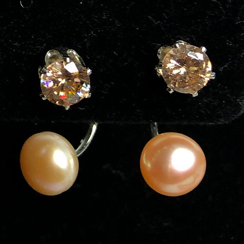 Double stacked Freshwater Cultured Pearl pierced earrin