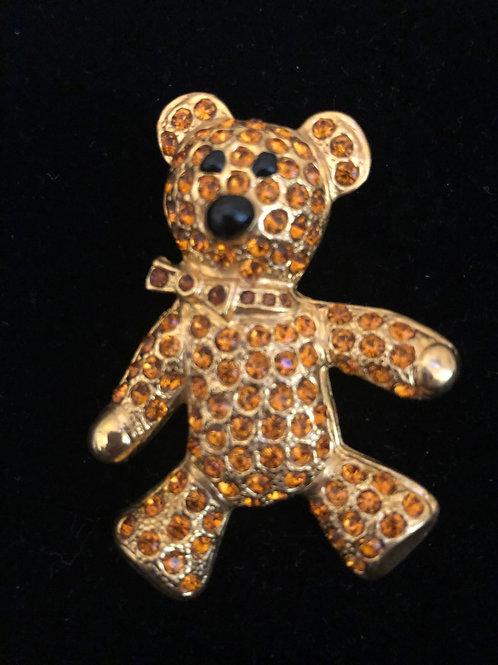 Gold crystal Teddy Bear brooch