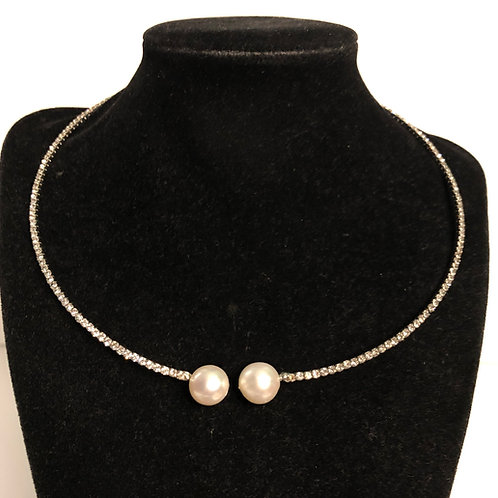 SILVER AUSTRIAN crystal choker with white Freshwater  pearls