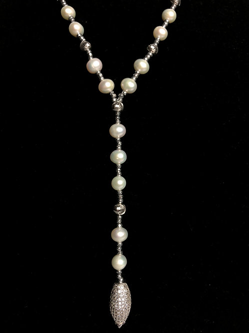 """""""Y"""" drop white FWP with sterling silver crystal beads"""