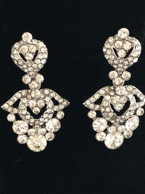 Silver elegant Austrian crystal pierced earring