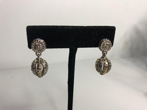Two tone Designer inspired drop ball earring