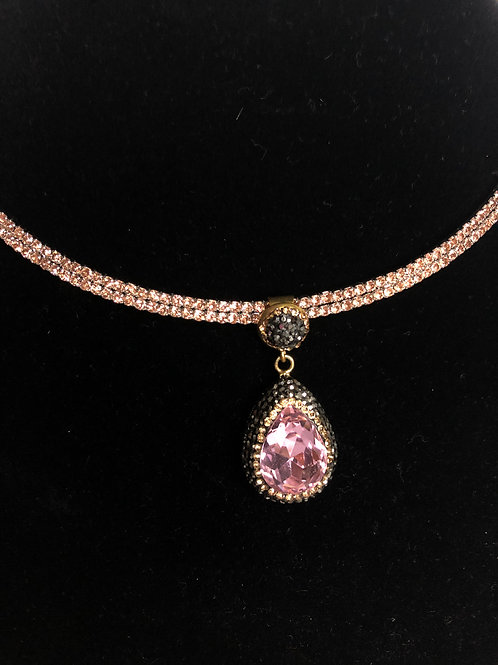 Tear drop Pink collar on Gold crystal Pendant