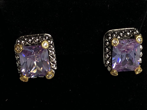 Designer two tone LILACrectangular shaped pierced earrings