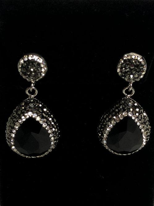 Tear drop crystal Jet Black pierced earrings